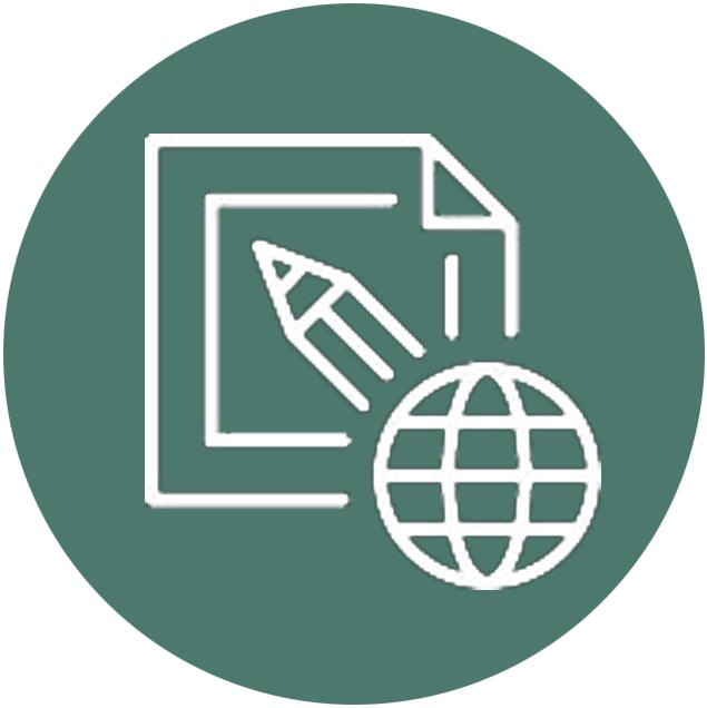 Grafik mit Welt, Papier und Stift als Symbol für Kommunikation und Übersetzung