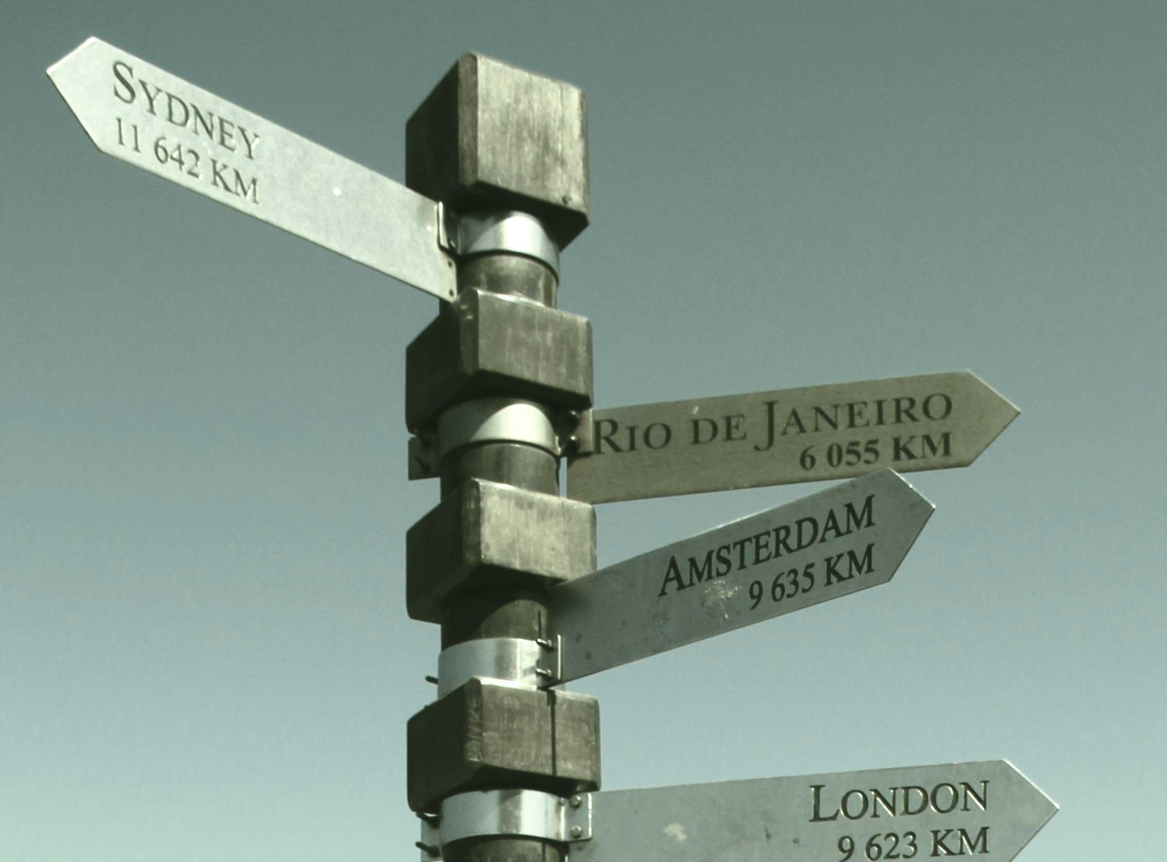 Schilder, die die Entfernungen und Richtungen zu unterschiedlichen Weltstädten zeigen